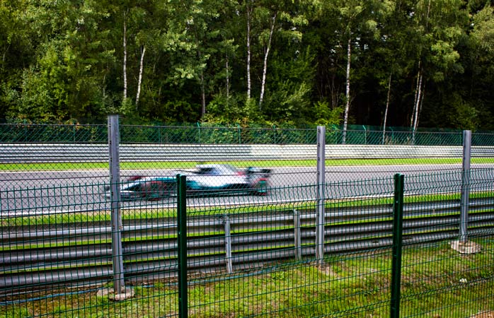 Blink and you'll miss it. A Mercedes racer streaks past The Kemmel Straight at over 300 Kph!